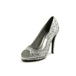 Touch Ups Tease Women Peep-Toe Synthetic Silver Heels