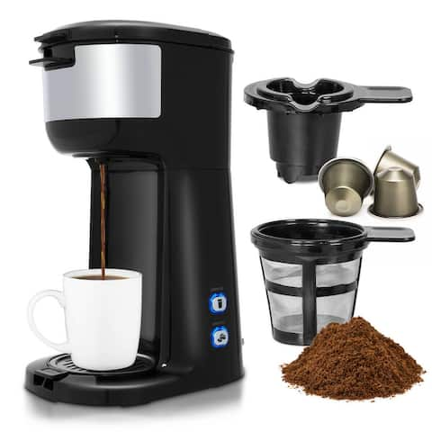 Gymax 2 in 1 Portable Coffee Maker Coffee Machine for Ground Coffee