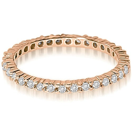 0.60 cttw. 14K Rose Gold Round Shared Prong Diamond Eternity Ring,HI,SI1-2