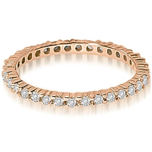0.90 cttw. 14K Rose Gold Round Shared Prong Diamond Eternity Ring