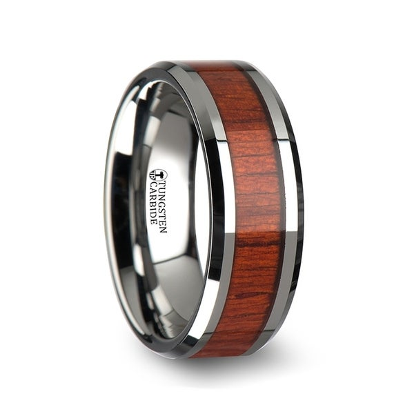 NARRA Tungsten Wood Ring with Polished Bevels and Padauk Real Wood Inlay