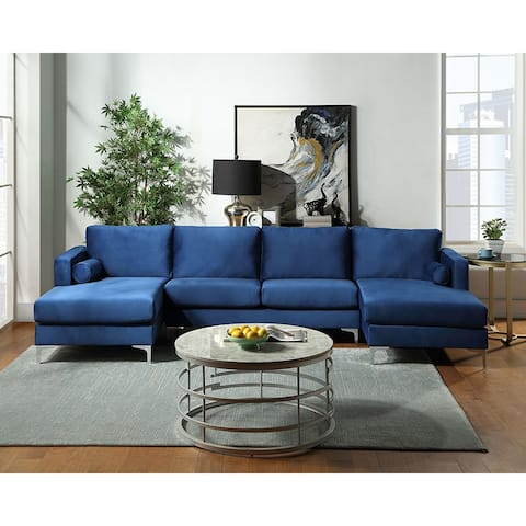 Sectional Sofa with Two Pillows, U-Shape Upholstered Couch
