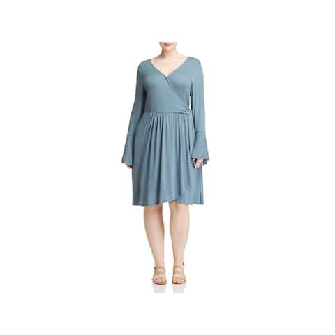 Bobeau Womens Plus Forrest Wrap Dress Curvy Bell Sleeves - 3X