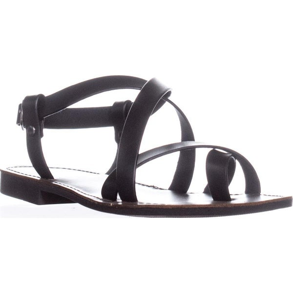 White Mountain Shoes Caela Toe Loop Sandals, Black Smooth