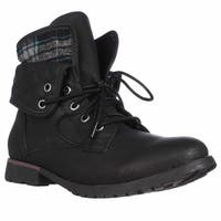 Rock & Candy Spraypaint Foldover Ankle Boots, Black Blue2 - 7.5 us