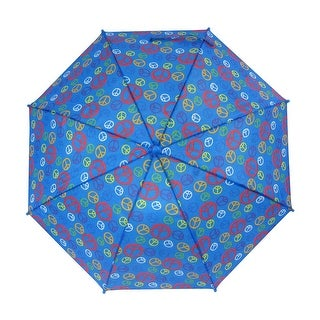 Peace Sign 34 Inch Blue Mini Stick Umbrella