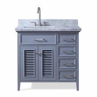 """Ariel D037S-L-VO  Kensington 36"""" Freestanding Vanity Set with Wood Cabinet, Marble Top and Single Undermount Sink"""