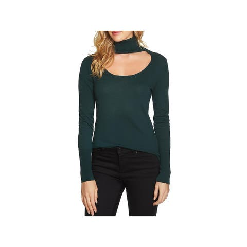 1.State Womens Turtleneck Sweater Cut-Out Scoop Neck