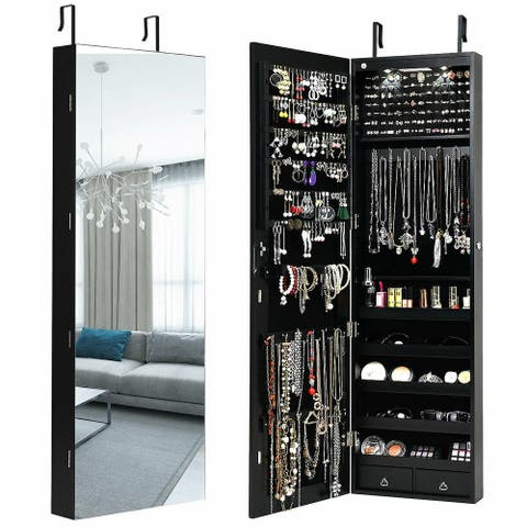 Gymax Wall & Door Mounted Mirrored Jewelry Cabinet Storage Organizer