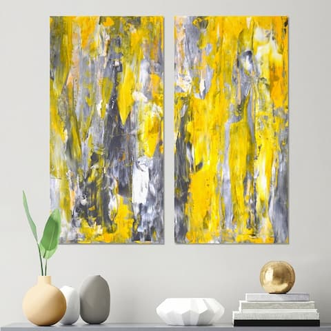 Designart 'Grey and Yellow Abstract Pattern' Abstract Canvas Wall Art Print 2 Piece Set