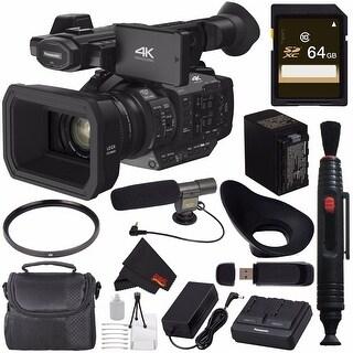 Panasonic HC-X1 4K Ultra HD Professional Camcorder + 64GB SDXC Card + Condenser Mic + XL Rugged Camcorder Case Bundle