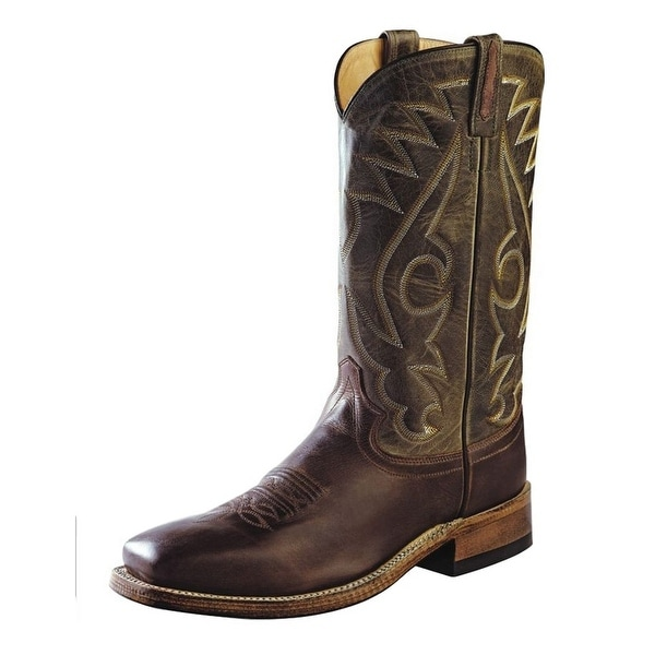 Old West Cowboy Boots Mens Stitching Chocolate Barnwood Green