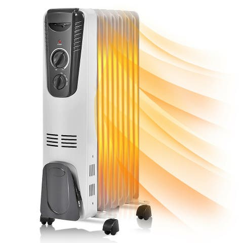 Electric Oil Filled Radiator Space Heater Fin Thermostat Room Radiant