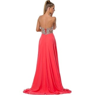Terani Couture Embellished Strapless Formal Dress