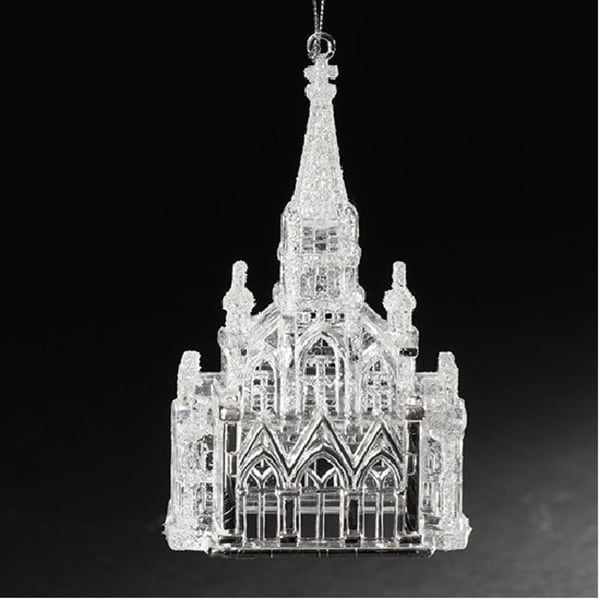 """6"""" Crystal Look Church with Iridescent Glitter Religious Christmas Ornament - CLEAR"""