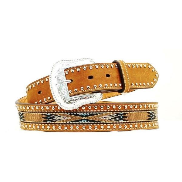 Nocona Western Belt Mens Southwest Studs Leather Brown