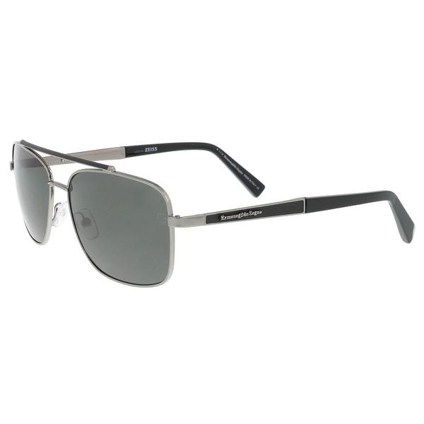 Ermenegildo Zegna EZ 0036 12D Silver Black Square Sunglasses - 59-16 ... 45debb9dbc1