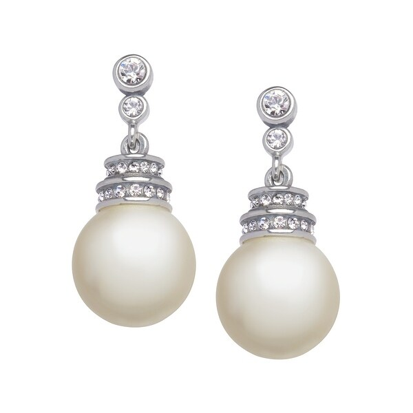 Van Kempen Art Deco Simulated Pearl Drop Earrings with Swarovski elements Crystals in Sterling Silver