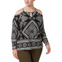 INC Black Womens Size 1X Plus Scarf Print Cold Shoulder Blouse