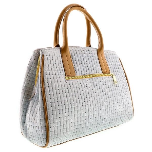 HS2076 BI SASA White Leather Satchel/Shoulder Bag - 13-10-6