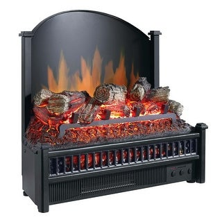 Pleasant Hearth LI-24 Electric Fireplace Logs Heater with LED Glowing Ember Bed - Black - N/A