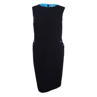 Tahari Women's Embellished Sheath Dress - Black/Turquoise