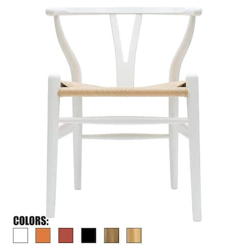 White Modern Style Wood Armchair - Dining Room Chair with Natural Papercord Woven Seat