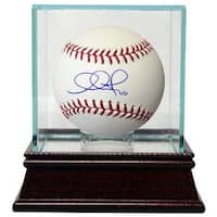 Adam Jones signed Rawlings Official Major League Baseball w Glass Case 10 Orioles
