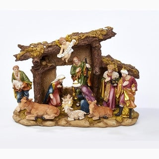 """11 Pieces Vivid Colored Decorative Nativity Figurine Set with Stable 13.8"""" - brown"""