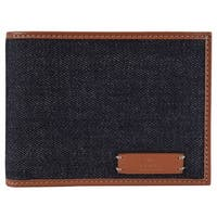 Gucci 278596 Men's Blue Denim and Saffron Leather Bifold Wallet - medium blue | saffron tan