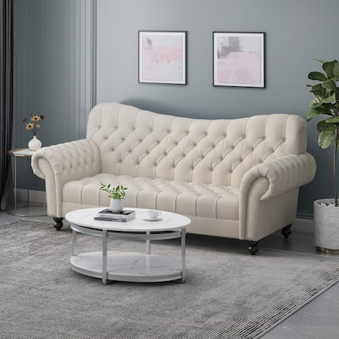 "Wastacio Chesterfield Button Tufted Fabric 3 Seater Sofa by Christopher Knight Home - 34.00""D x 84.50""W x 37.50""H"