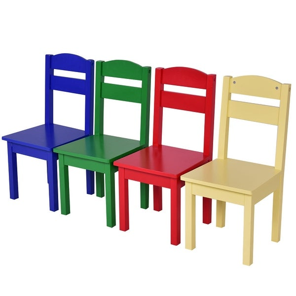 Costway Kids 5 Piece Table Chair Set Pine Wood Multicolor Children Play  Room Furniture   Free Shipping Today   Overstock.com   22472587