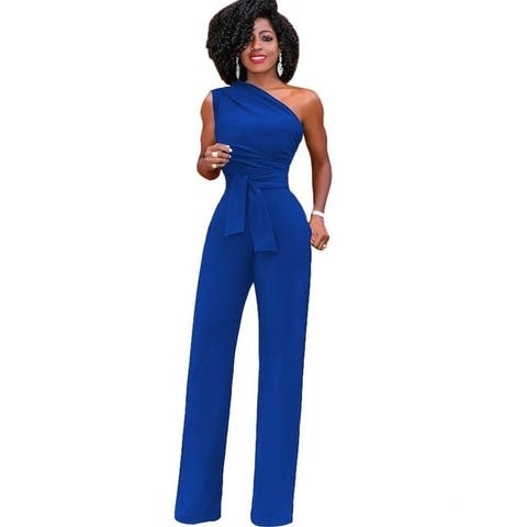 Women's Belted Strapless Strapless Jumpsuit