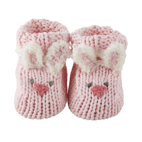 Pink Bunny Knitted Booties for 0-3 Months - One Size