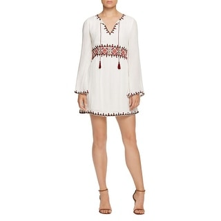 Sanctuary Womens Azita Tunic Dress Embroidered Bell Sleeves