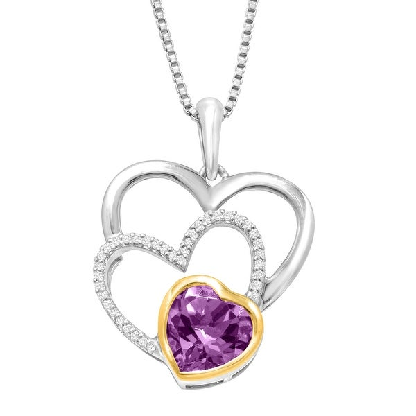 1 1/10 ct Natural Amethyst Triple Heart Pendant with Diamonds in Sterling Silver & 14K Gold - Purple
