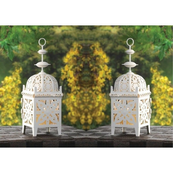 Set of 2 White Filigree Candle Lanterns