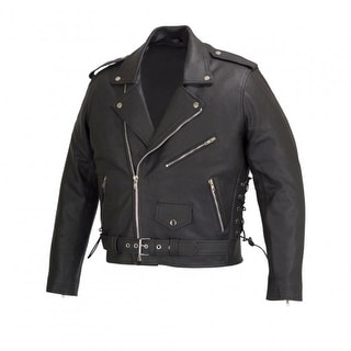 Men Motorcycle Biker Leather Jacket Classic Design Black MBJ004