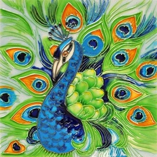 Proud Peacock Ceramic Tile 4 Inches