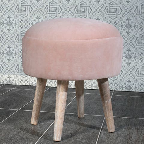 """Hillsdale Mid-Mod Upholstered Backless Vanity Stool - 16"""" x 16"""" x 18"""""""