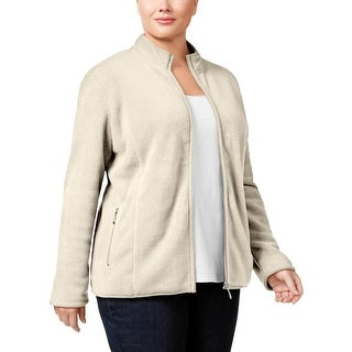 Karen Scott Womens Plus Jacket Fleece Long Sleeves
