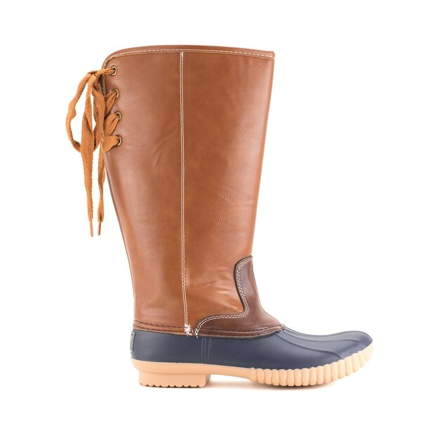 Faux Leather Wide Calf Lined Rain Boots