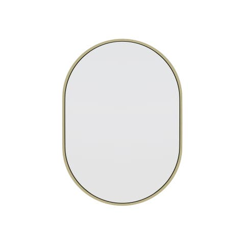 Glass Warehouse 28 in. H x 20 in. W Pill Shape Stainless Steel Framed Mirror