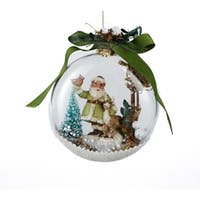 """4.5"""" In the Birches Santa with Deer and Cardinal Winter Scene Christmas Disk Ornament - WHITE"""