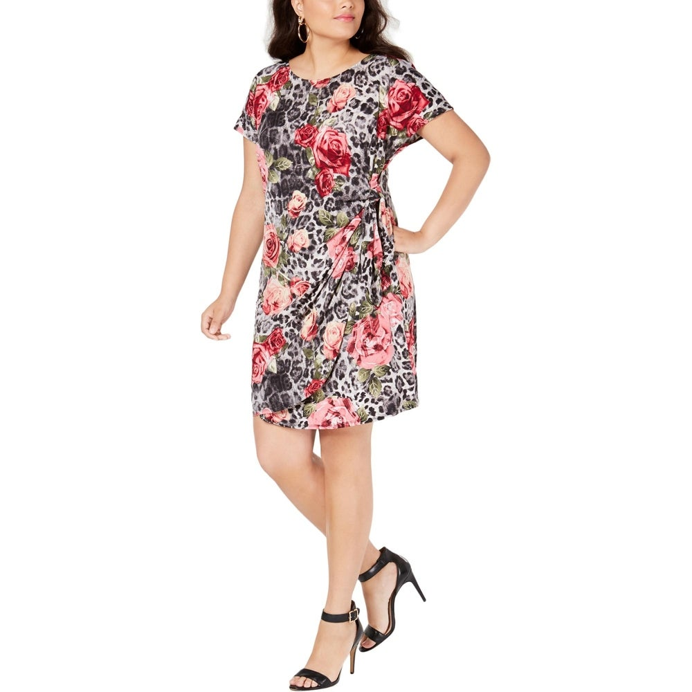 Signature By Robbie Bee Womens Plus Wrap Dress Sarong Floral Print - Black/Cream/Mauve