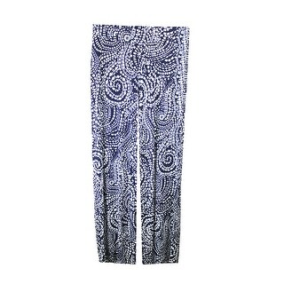 Charter Club Navy Printed Wide-Leg Pants XS