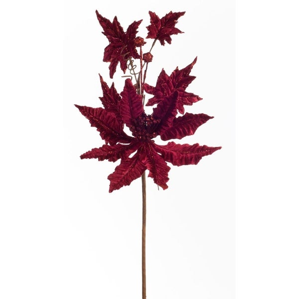 """Club Pack of 12 Artificial Glittered Burgundy Red Christmas Poinsettia Sprays 27"""""""