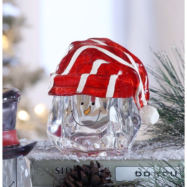 "Set of 2 Clear and Red Snow Man Knit Hat Candy Jar Christmas Tabletop Decor 5.25"" - N/A"
