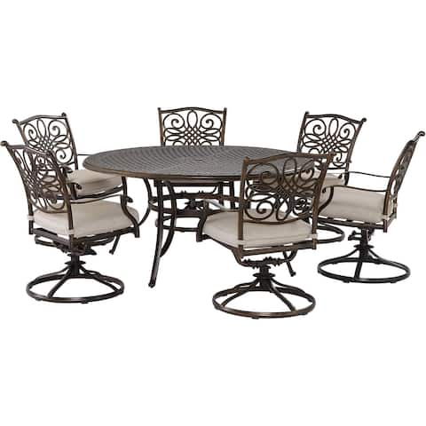 Agio Renditions 7-Piece Set with 6 Swivel Rockers and 60-in. Cast-Top Table, Featuring Sunbrella® Fabric in Silver