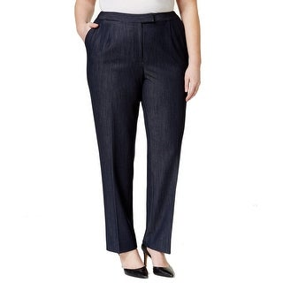 Tahari By ASL NEW Blue Womens Size 22W Plus Straight-Leg Chambray Pants